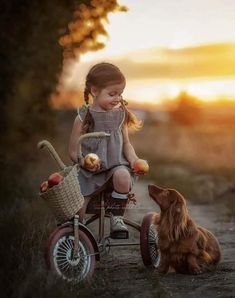 Little girl on tricycle offering an apple to her dog. Dogs And Kids, Animals For Kids, Baby Animals, Cute Animals, Precious Children, Beautiful Children, Cute Baby Girl, Cute Babies, Long Haired Dachshund