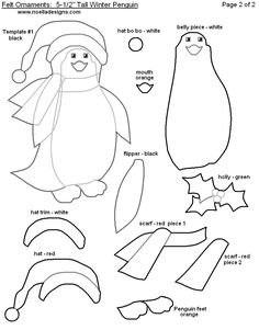 Felt penguin ornament pattern