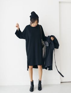 Oversized black cotton dress #oversized #dress