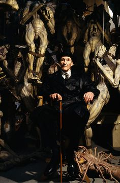 William Burroughs (on the set of The Naked Lunch, directed by David Cronenberg)