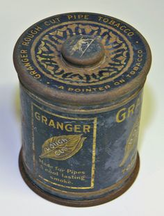 Antique Tins | Antique Pipe 1800s TOBACCO GRANGER TIN Antique Very detailed graphics