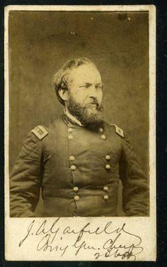A signed carte de visite of President James A Garfield when he was a Brigadier General for the Union, during the Civil War. American Presidents, American Flag, American History, 20th President, William Henry Harrison, Garfield, United States, War, Pennsylvania
