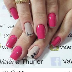 WEBSTA @ aaliinecosta - Que linda!! O que acham meninas? .❇️ Trabalho da @valeriathurler #unhaslinhas #alinecostablog #unhas #dicas Simple Nail Art Designs, Nail Designs, Love Nails, Pretty Nails, Valentine Nail Art, French Tip Nails, Stamping Nail Art, Nail Arts, Manicure And Pedicure