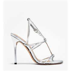 Halston Heritage Anita Metallic Leather High Heel Sandal ($158) ❤ liked on Polyvore featuring shoes, sandals, silver, strappy high heel sandals, evening sandals, stiletto heel sandals, heeled sandals and leather sole shoes
