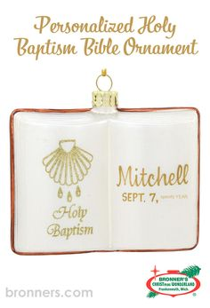 Personalized Holy Baptism Bible Glass Book Form from Bronner's Christmas store of Christmas ornaments and Christmas lights Beach Crafts, Fun Crafts, Open Bible, Glass Book, Glass Floats, Christmas Wonderland, Baptism Gifts, Personalized Ornaments, Gold Cross