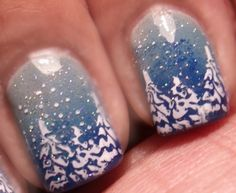 Pinned by www.SimpleNailArtTips.com CHRISTMAS NAIL ART DESIGN IDEAS - Winter Wonderland - Stamping and sponging