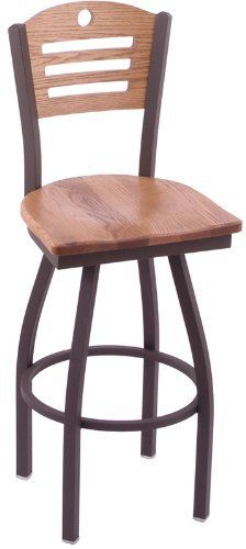 830 Voltaire 30'' Swivel Stool with Wood Seat by The Holland Bar Stool Co.. $226.99. 30''H, 360° Swivel barstool Constructed from the finest high quality plating grade steel Finish features an oven baked epoxy/polyester powder coating to resist scuffing, chipping, & peeling Choose frame finish All structural joints are MIG welded for maximum strength Back available in 3 different designs Seat and back are constructed of Maple or Oak and available in finish of your choice Paten...