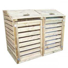 Copri bidoni per la raccolta differenziatain Legno 150x90x120 h