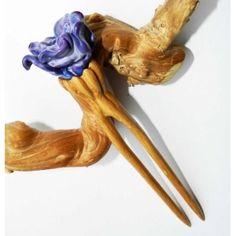 """Dream"" Wooden 2 prong Hairpin by OakForest Woodwork & MarLenGlass (Moscow). Handmade. Materials: Oak wood, Linseed oill, Decor - lampwork by MarLenGlass. Size: - 16,5x3,5cm."