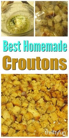 Homemade croutons are delicious, inexpensive and easy to make. This guide has the best homemade crouton recipes. Crouton Recipes, Soup Recipes, Cooking Recipes, Home Made Croutons Recipe, How To Make Croutons, Love Food, Food And Drink, Kitchens
