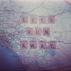 Let's run away...to the west coast - combining maps and scrabble tile...!