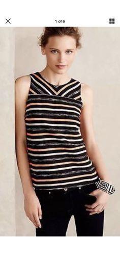 f53fbf7eab84 Anthropologie HD in Paris Orange Black Striped Ribbon Tank Top Size 12  #fashion #clothing