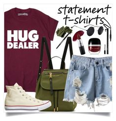 """""""Statement T-Shirt"""" by giuliettagioia ❤ liked on Polyvore featuring Marc Jacobs, Converse, Bobbi Brown Cosmetics, Tweezerman, Charlotte Tilbury, MAC Cosmetics and NYX"""