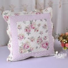 """Shabby Country Chic Pink Rose Cotton Quilted Cushion Cover A1 Style on Ebay from  """"hellen030"""" ~ I LOVE THIS!!"""