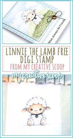 Free Linnie the Lamb Digi Stamp - My Creative Scoop DIY Cards Linnie the Lamb Free Digi Stamp Copic Marker Art, Copic Pens, Copics, Sketch Markers, Digital Stamps Free, Digital Scrapbooking, Copic Markers Tutorial, Spectrum Noir Markers, Distress Markers