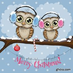 Christmas owls vector, 15 x EPS