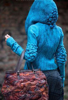 Первая коллекция - this felted wool jacket is a work of art! frame it or wear it, which to do? xoPiper nuno shibori wet felt techniques for this folk festival pagan hippy fairy style jacket Textiles, Hijab Mode, Do It Yourself Jewelry, Art Textile, Nuno Felting, Fabric Manipulation, Felt Art, Mode Inspiration, Fabric Art