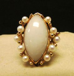 Lavender Jade and Pearl Ring