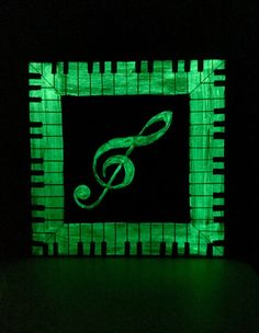 Glow in the dark music Art This Awesome piece of Art is hand painted in several layers to create a modern musical piece by day and a unique glow in the dark painting by night. Size 14X 14 acrylic and special glow products painted on Hardwood decorative plaque. Sides painted black. Ready to hang.  Other sizes can be requested and made to Order on stretched canvas. If you choose the 14x14 It will ship right away, other sizes please allow 3-7 days for completion.
