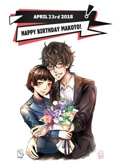 So!! Me and @nfoliage decided to surprise you guys with a ShuMako collab to celebrate Makoto's birthday! She did the sketch and lineart for Ren! And I colored it! Then I drew Makoto and she colored it :D i also sketched the flowers and she rendered...