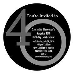 40th birthday invitations men | Cirle Round Numbers 40th Birthday Party Invitation, Unique Modern Over ...