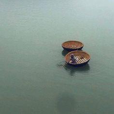 Basket boats on Hampi , Karnataka , India.