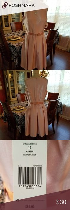 Elegant Pink Sleeveless Dress Skirt is pleated with hidden pockets on the sides. Matching belt included. 100% polyester. Beautiful. Never Worn! Kim Rogers Dresses Midi