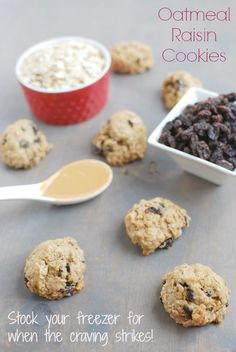 These Freezer Oatmeal Raisin Cookies can be made ahead of time and stored in the freezer for when a dessert craving hits! My Recipes, Cookie Recipes, Dessert Recipes, Favorite Recipes, Healthy Recipes, Healthy Snacks, Healthy Eating, Healthy Deserts, Healthy Sweets