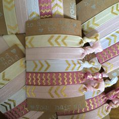 Items similar to Hair Tie for Bridesmaid Gifts// Pink + Gold Hair Tie Favor, Bridesmaid Gift, Bachelorette Party Favor, Bridal Shower Favors, Wedding Party on Etsy Bachelorette Party Favors, Bridal Shower Favors, Creaseless Hair Ties, Hair Tie Bracelet, Ceramic Wall Art, Gold Chevron, Diy Hair Accessories, Gold Hair, Diy Hairstyles