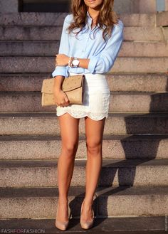 Light blue shirt+ lace skirt+ nude accessories   A pair of oxfords would look great with this too