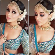 Makeup Artist Reveals - Smokin' hot eye makeup looks for your pre wedding celebrations Picking the best eye makeup trends 2017 for the perfect eye game for your pre wedding celebrations.Stylists reveal Wedding week worthy DIY Eye Makeup Looks! Bride Eye Makeup, Bridal Makeup Looks, Bridal Looks, Indian Wedding Makeup, Indian Bridal Wear, Indian Wear, Indian Bridal Jewelry, Indian Eye Makeup, Indian Marriage Makeup