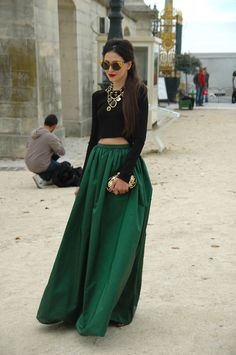 big green maxi with a crop top. so @OscarPRGirl