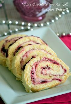 White chocolate and sour cherries roll Romanian Desserts, Sour Cherry, Profiteroles, Pavlova, White Chocolate, Cookie Recipes, Sweet Treats, Cheesecake, Food And Drink