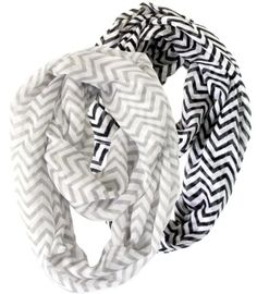 Vivian & Vincent Exclusive 19 inches wide, 60 inches total loop 2 pack for sale 2 Pack of Soft Light Weight Zig Zag Chevron Sheer Infinity Scarf