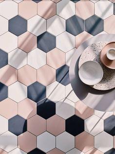 Hayek Hex Blush glazed matt tile shown on the floor with Hayek White and Navy Hexagon Tile Bathroom, Kitchen Wall Tiles, Hexagon Tiles, Wall And Floor Tiles, Colourful Bathroom Tiles, Pink Kitchen Walls, Hex Tile, Tiling, Kitchen Backsplash