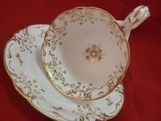 Ridgway Coffee Cup and Saucer White Molded Split Handle Gold Dec C1846