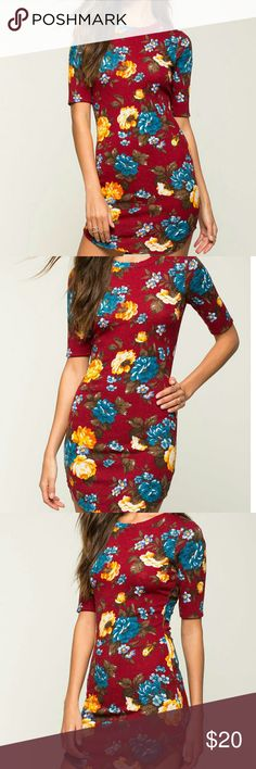 """👄NEW! Floral Harvest Tee Dress👄 New with Tags Have fun in floral with this tee dress! Features a 💋multicolored floral print, crew neck and short sleeves. Curved hem. Stretch material.  .Measures approx. 35"""" long, 30-36"""" chest, 26-32"""" waist, 11"""" sleeve length 🍁95% Polyester, 5% Spandex  🍁Made in USA 🍁Hand wash cold 🍁Model is wearing size S 🍁Model is 5'7"""", bust 34, waist 24"""", hips 34"""" ✔All Reasonable Offers Accepted  ✔Bundle Discounts!💲💲💲 ❌NO Lowballing Thank you for stopping by…"""