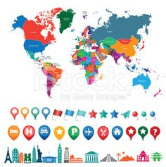 world map kit with landmarks and gps icons royalty-free stock vector art