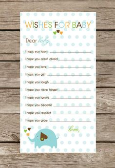 Elephant Collection Baby Shower Game - Wishes for baby boy or girl. via Etsy. Shower Bebe, Baby Shower Fun, Shower Party, Baby Shower Parties, Shower Gifts, Baby Showers, Wishes For Baby Boy, Baby Boy Or Girl, Baby Love