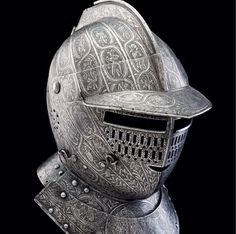 A fine north Italian etched close helmet for a cuirassier, ca 1620