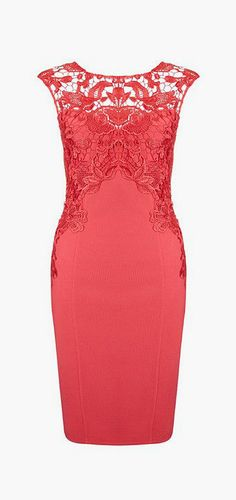 Red Crochet Sheath Dress- Sleeveless Red Crochet Sheath Dress