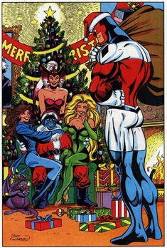 MARVEL christmas | Pin-up from Marvel Holiday Special 1992 featuring Excalibur (at least 2 of whom were previously of the X-Men), art by the late Dave Cockrum.  (© Marvel, of course)