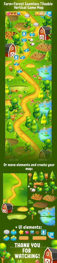 Farm and Forest Tileable Seamless Vertical Game Map - Miscellaneous Game Assets | Download: https://graphicriver.net/item/farm-and-forest-tileable-seamless-vertical-game-map/19969113?ref=sinzo #game #assets