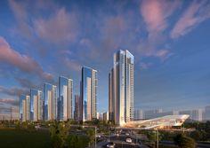 Futuristic Architecture, Facade Architecture, Mall Facade, Residential Complex, Dream House Exterior, Apartment Design, Condominium, Urban Design, Building Design