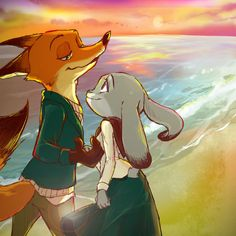 """""""crispyfactor: """"nicholas-pwilde: """" fox-comics: """" Walk on the beach at sunset, Nick know how to charm her bunny :) by miroukitsu """" Yes I do! Gotta spoil my bunny rotten right? Gotta spoil the one animal that charms me just by looking at. Zootopia Comic, Zootopia Art, Studio Disney, Zootopia Nick And Judy, Percy And Annabeth, Film D'animation, Avatar The Last Airbender, Neko, Animals And Pets"""