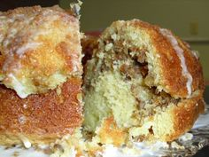Sock-It-To-Me-Cake    Cake:  1 box yellow butter cake mix (Reserve 1 Tbsp. dry cake mix for the streusel)  1 c. sour cream  4 eggs  1/2 c. canola oil  1/4 c. sugar  1 tsp. pure vanilla extract    Streusel:  2 tsp. ground cinnamon  2 Tbsp. light brown sugar  2 Tbsp. melted unsalted butter  1 tsp. pure vanilla extract  1 c. chopped pecans/walnuts  1 Tbsp. dry cake mix    Icing:  1/2 c. confectioner sugar  1 Tbsp. fresh lemon juice  2 Tbsp. evaporated milk