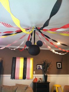 Inexpensive way to gain a big impact.  See more Mickey Mouse birthday party and kids birthday party ideas at www.one-stop-party-ideas.com
