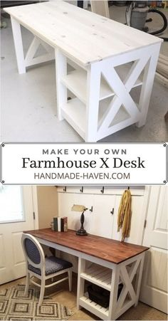 Create this DIY farmhouse desk with these step by step build plans. Furniture Plans, Farmhouse Desk, Furniture Diy, Diy Wood Desk, Rustic End Tables, Diy Furniture Plans Wood Projects, Diy Furniture Projects, Diy Desk Plans, Desk Plans