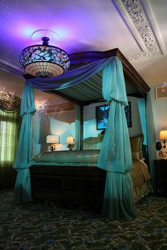 The dream suite at Disney is SO pretty. I want a bed like that for my room someday....definately doable, crown moulding around pvc pipes that hold all of the gauzy stuff to hide the pvc pipes...