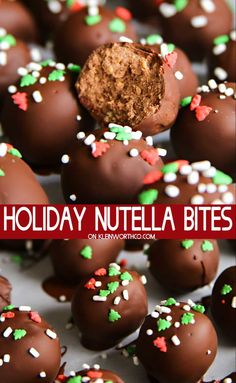 Holiday Nutella Bites are 3 ingredient truffles made with Nutella and coated in . - Holiday Nutella Bites are 3 ingredient truffles made with Nutella and coated in a hard chocolate sh - Christmas Truffles, Christmas Deserts, Holiday Desserts, Holiday Baking, Holiday Treats, Holiday Recipes, Holiday Decorations, Holiday Parties, Christmas Recipes
